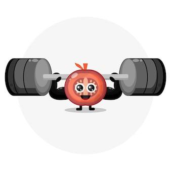 Logotipo de personaje lindo de fitness de tomate