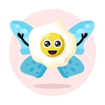 Logotipo de personaje lindo huevo de mariposa
