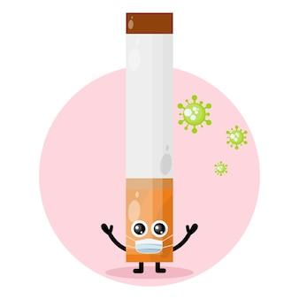 Logotipo de personaje lindo de virus de máscara de cigarrillo