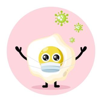 Logotipo de personaje lindo de virus de máscara de huevo