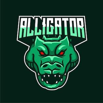 Logotipo de personaje de mascota de alligator e-sports