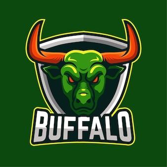 Logotipo del personaje de la mascota de buffalo e-sports