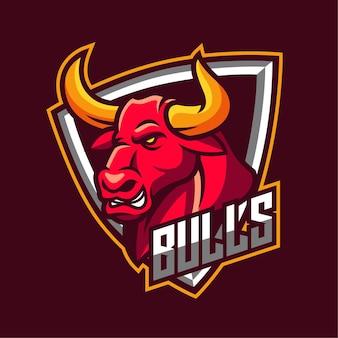 Logotipo del personaje de la mascota de bulls e-sports