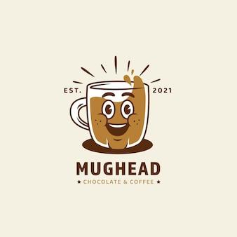 Logotipo de personaje de mascota de cabeza de taza en estilo de dibujos animados retro vintage