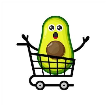 Logotipo del personaje de la mascota del carrito de la compra de aguacate