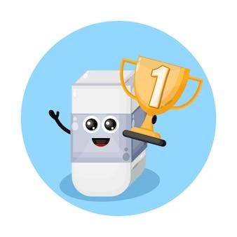Logotipo de personaje de mascota de la copa de campeones de borrador