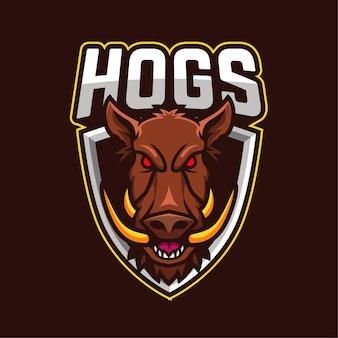 Logotipo del personaje de la mascota de los deportes electrónicos de los cerdos