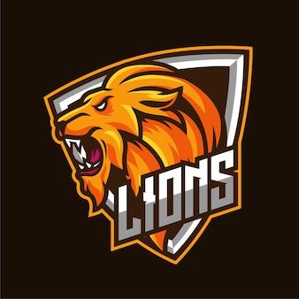 Logotipo del personaje de la mascota de los deportes electrónicos del león
