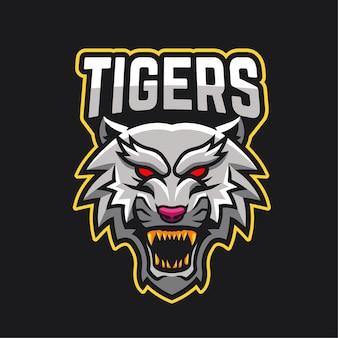 Logotipo del personaje de la mascota de los deportes electrónicos tigre