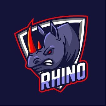 Logotipo del personaje de la mascota rhino e-sports