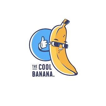 Logotipo de personaje de plátano fresco Vector Premium