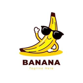 Logotipo de personaje de plátano sonriente fresco