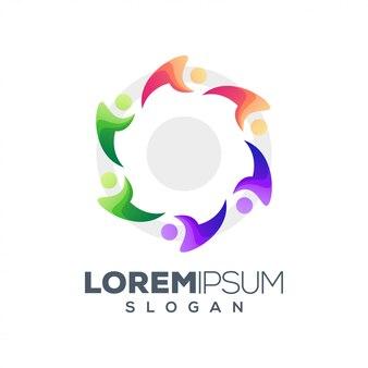 Logotipo de personas coloridas abstractas