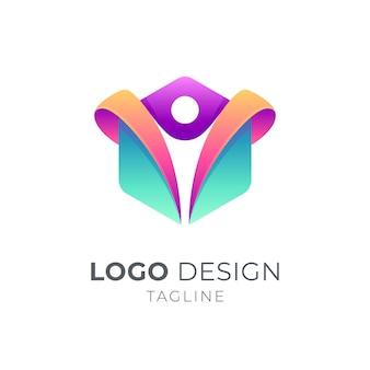 Logotipo de personas en forma hexagonal