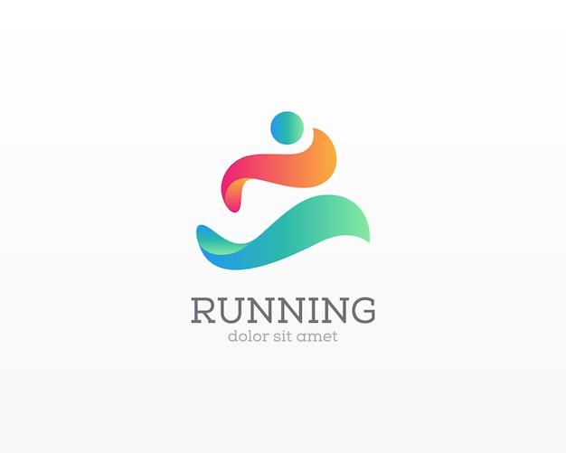 Logotipo de personas icono creativo abstracto personas corriendo