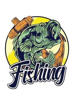 Logotipo de pesca aislado en blanco