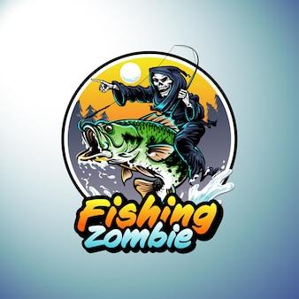 Logotipo de pesca con grim reaper montando peces ilustración