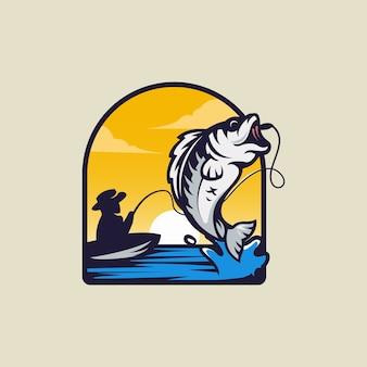 Logotipo de pesca minimalista y simple.