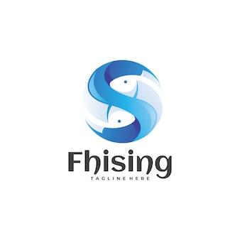 Logotipo de pescado azul y esfera