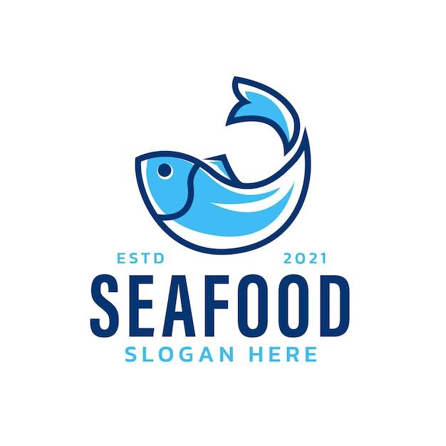 Logotipo de pescado con concepto moderno minimalista.