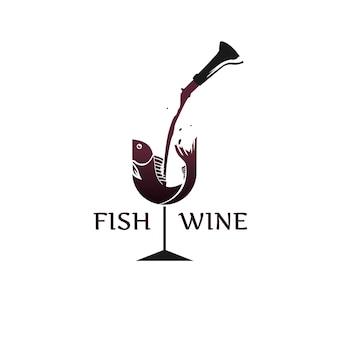 Logotipo de pescado y vino