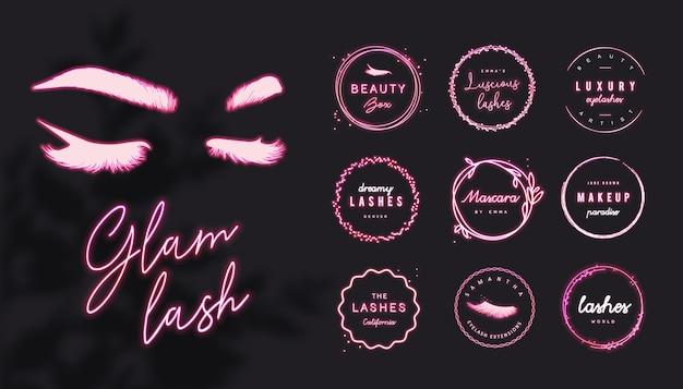Logotipo de pestañas prefabricadas de neón rosa con texto editable y marcos redondos brillantes