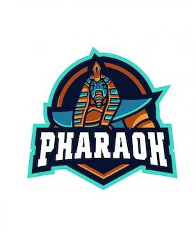 Logotipo de pharaoh e sport azul
