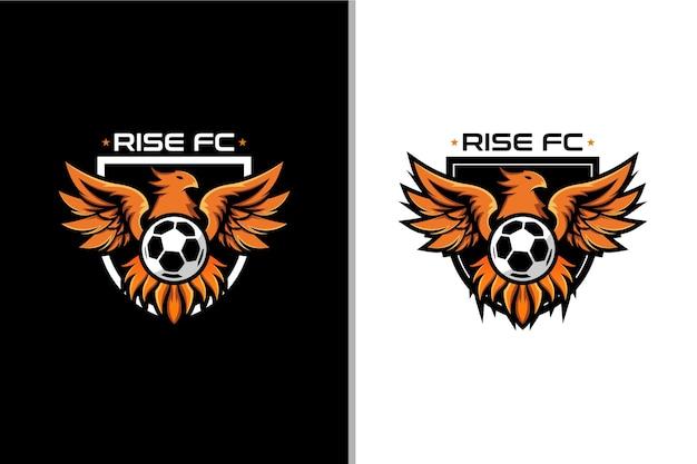 Logotipo de phoenix y pelota para el club de fútbol insignia.