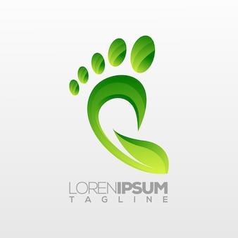 Logotipo del pie, tema ecológico de la naturaleza.