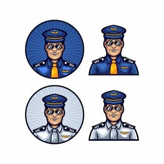Logotipo de piloto plantilla vector sonrisa