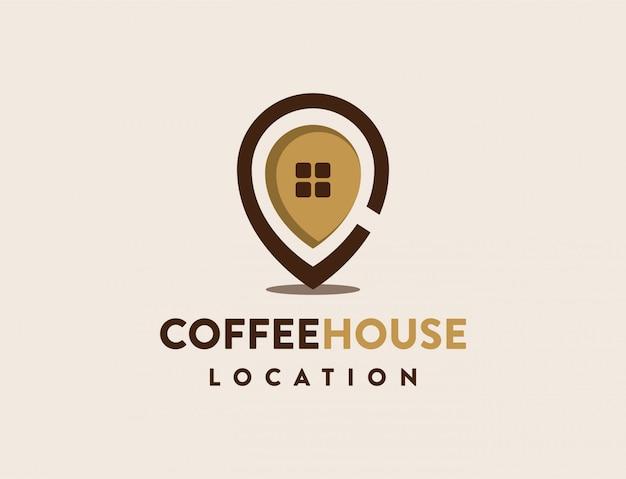 Logotipo de pin de la casa de café