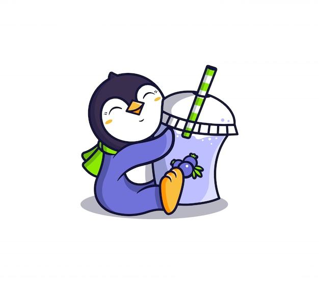 Logotipo de pingüino con bebida de hielo