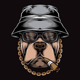 Logotipo de pitbull fumar gángster