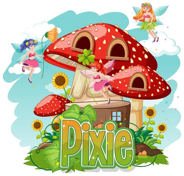 Logotipo de pixie con pequeñas hadas en blanco