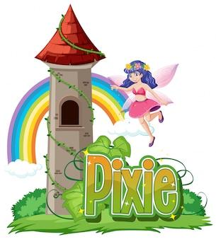 Logotipo de pixie con pequeñas hadas sobre fondo blanco.