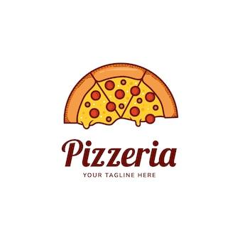 Logotipo de pizza de fusión, restaurante pizzería con plantilla de icono de logotipo de queso de fusión