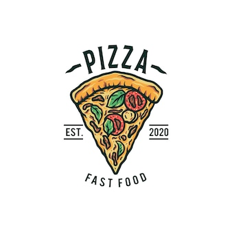 Logotipo de pizza, línea dibujada a mano con color digital