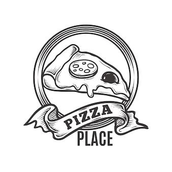 Logotipo de pizza place vintage
