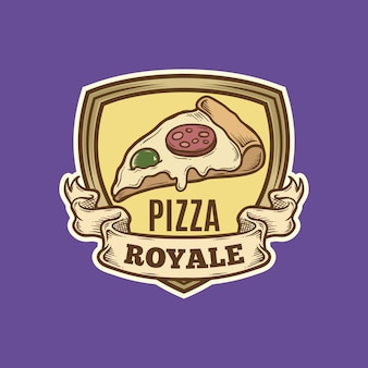 Logotipo de pizza place vintage