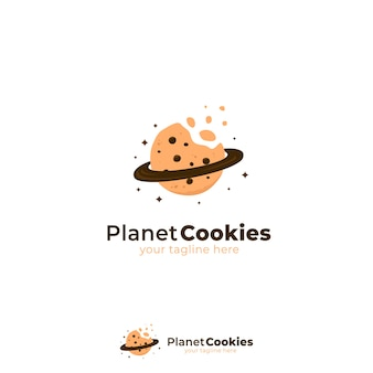 Logotipo de planet cookies con galletas mordidas y ilustración de símbolo de icono de anillo de planeta