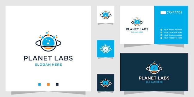 Logotipo de planeta abstracto en estilo de laboratorio de ciencias y plantilla de diseño de tarjeta de visita