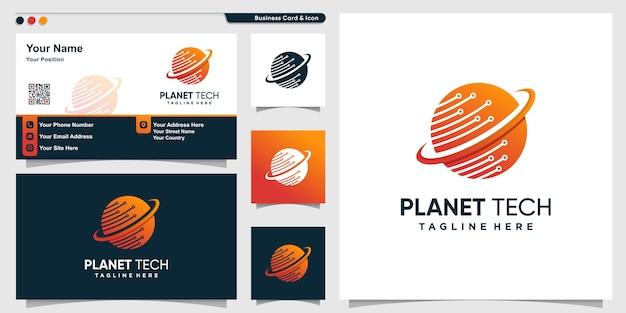 Logotipo de planeta con estilo de tecnología degradada y plantilla de diseño de tarjeta de visita