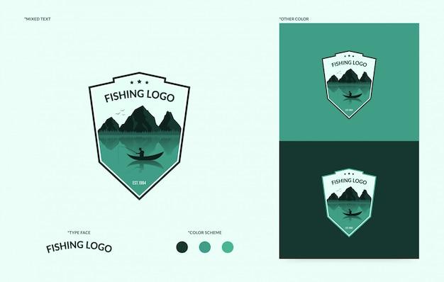 Logotipo plano del club de pesca, tipo de logia del concepto de torneo de pesca