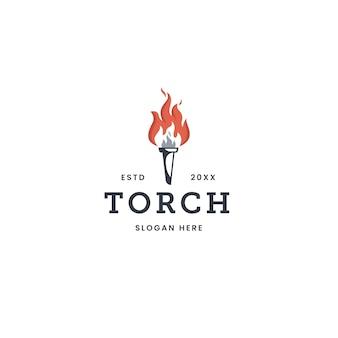 Logotipo plano de llama de campeonato de victoria de antorcha de fuego