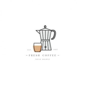 Logotipo de la plantilla de colores o emblema - cafetería y cafetería. icono de comida etiqueta de moda estilo lineal sobre fondo blanco.