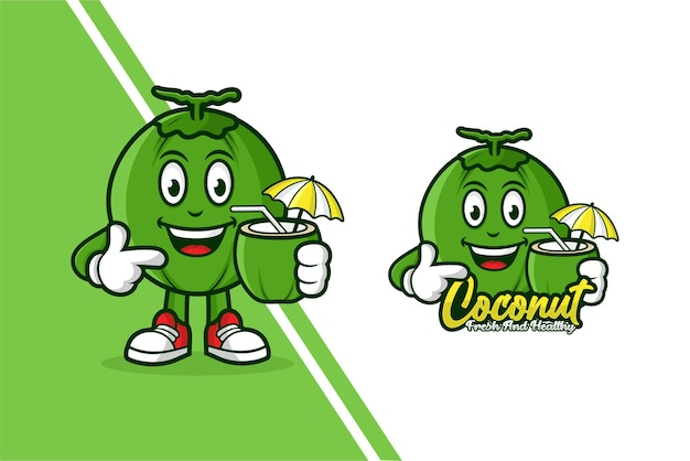 Logotipo de plantilla de dibujos animados de mascota de coco