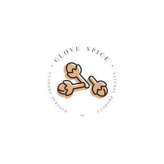 Logotipo de la plantilla de diseño de embalaje y emblema - hierba y especias - clavo. logotipo en estilo lineal de moda.