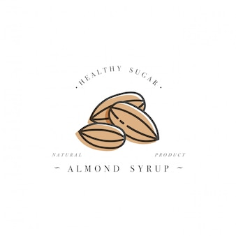 Logotipo de la plantilla de diseño de envases y emblema - jarabe y cobertura - almendra. logotipo en estilo lineal de moda.