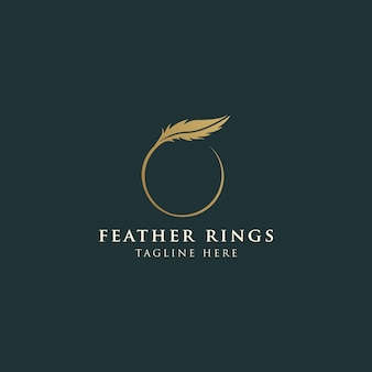Logotipo de pluma femenina de lujo