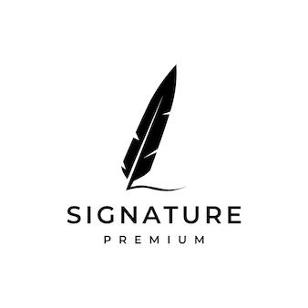 Logotipo de la pluma de la firma